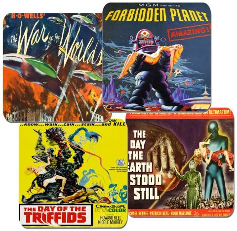 Classic Sci Fi Movie Poster Coasters Set Of 4. High Quality Cork. Vintage Film